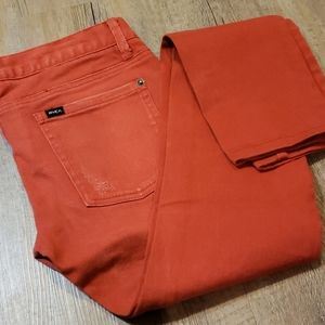Distressed red skinny jeans